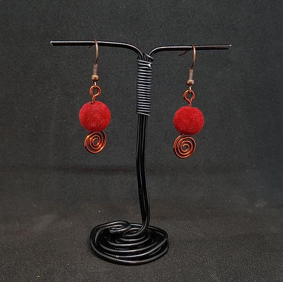Velvet red earrings