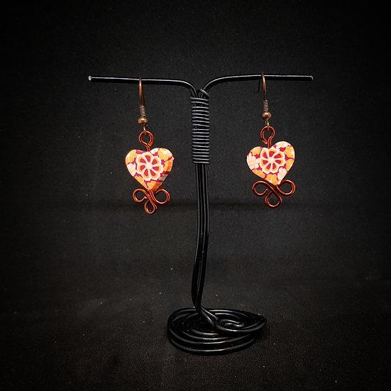 Milefiori hearts earrings
