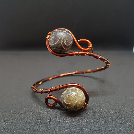 Engraved stone bracelet