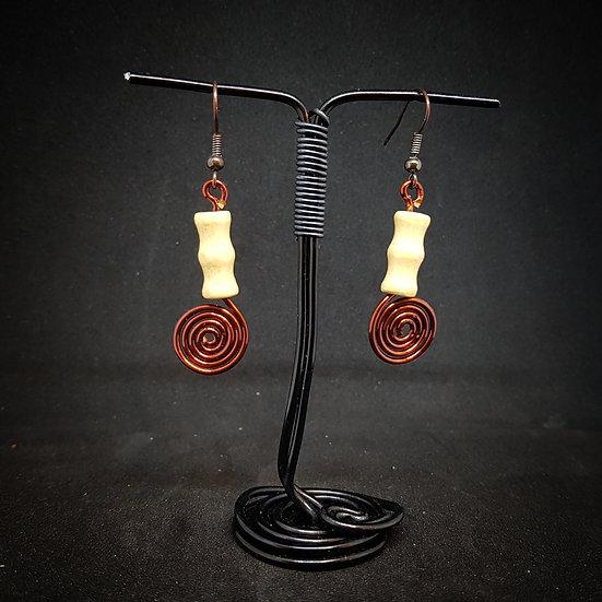 Wooden beads earrings