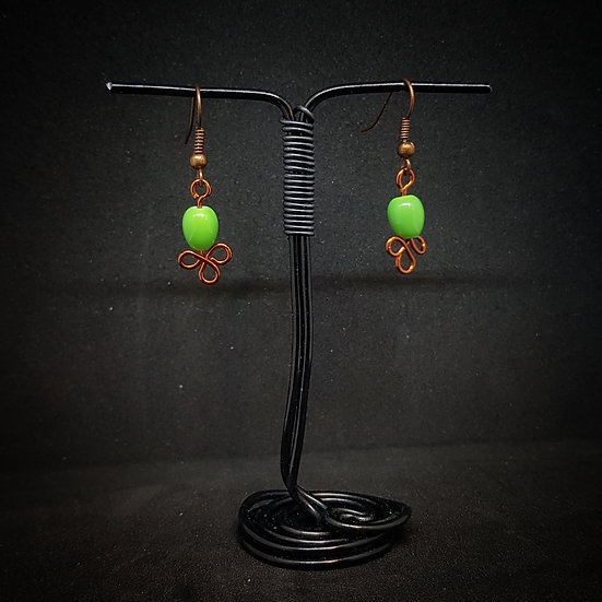 Green ceramic earrings