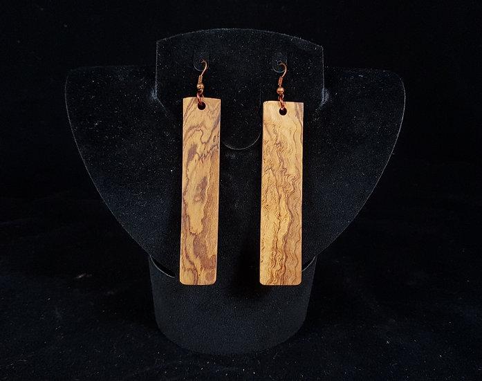 Olive wood earrings #2