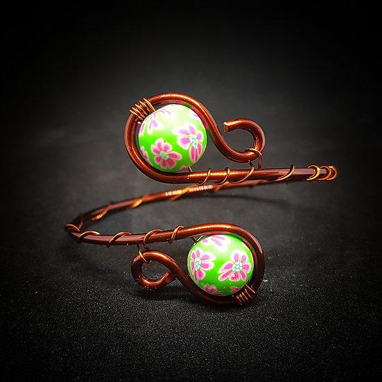 Green milefiori wire bracelet