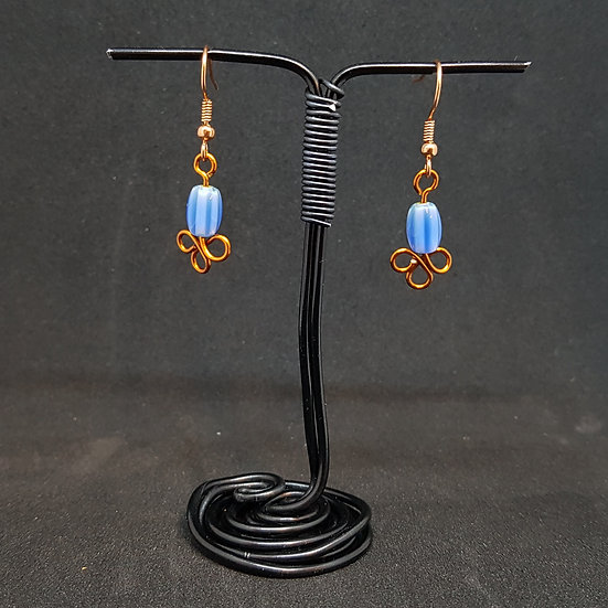 Blue striped glass earrings