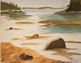 Sorrento Harbor.  Watercolor