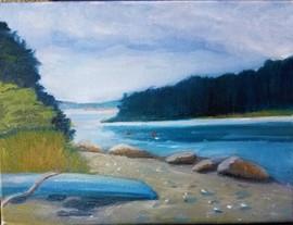 Ewings Boatyard. Oil on Canvas