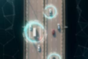 Aerial view of self driving autopilot ca