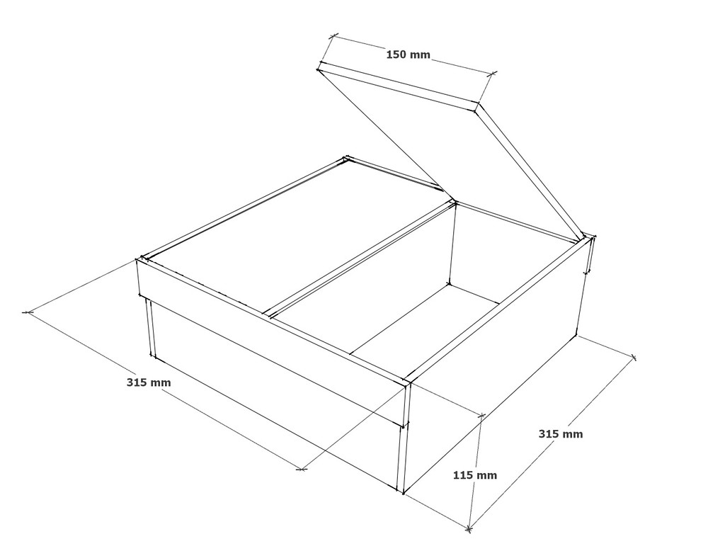 Plan showing dimensions to construct a small seed storage box