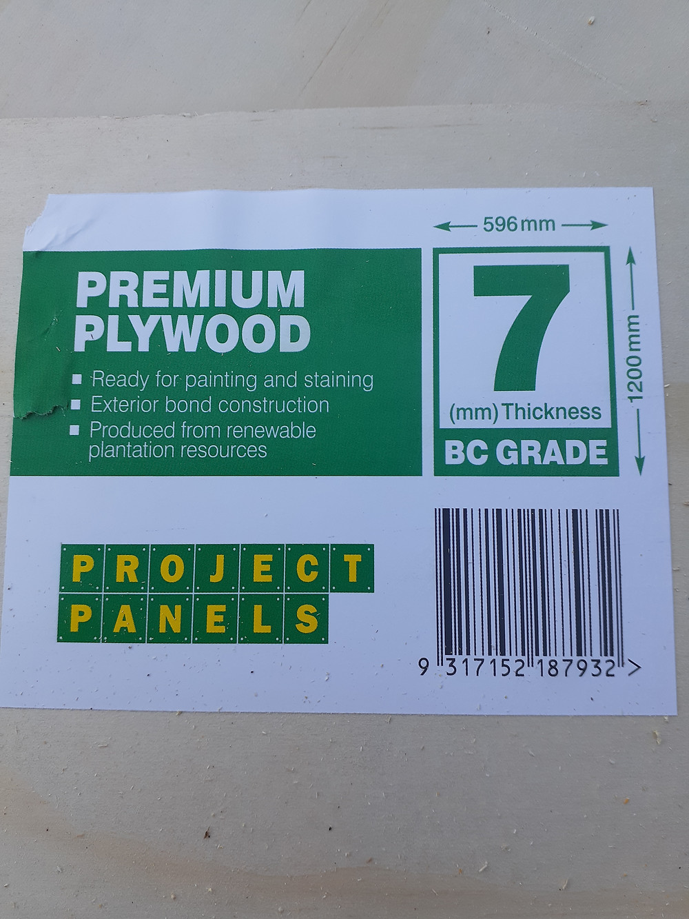 Plywood sheet used to construct seed box