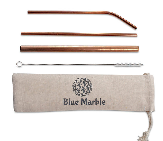 Beautiful Rose Gold Stainless steel straw set