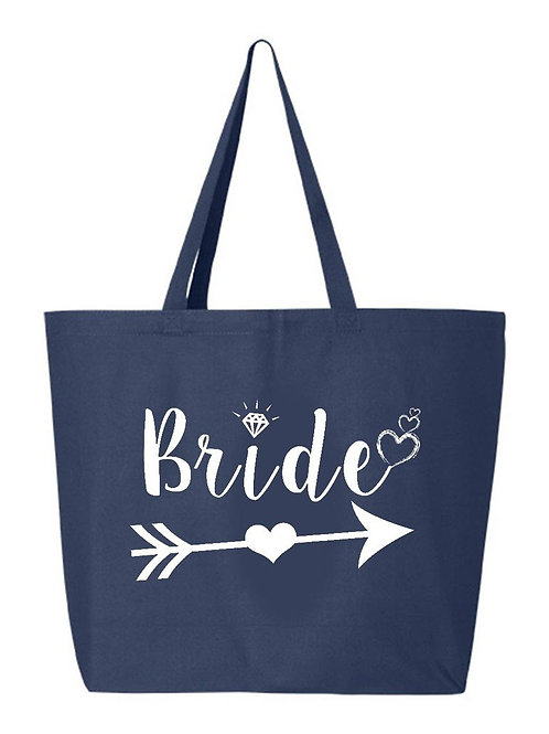 """""""Bride"""" with Heart Arrow Canvas Tote in Navy Blue, Natural or Black"""