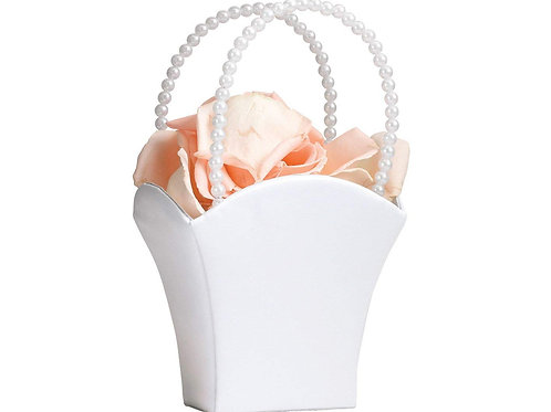 Satin and Pearl Flower Girl Basket in White
