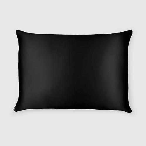 Black Silk Pillowcase - Queen Size - Zippered