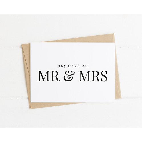365 DAYS of Mr. & Mrs. - 1 Year Wedding Anniversary Card