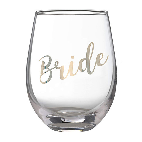 """""""Bride"""", """"Maid of Honor"""" or """"Bridesmaid"""" Stemless Wine Glass"""
