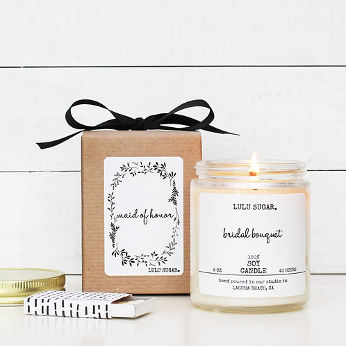 """MAID OF HONOR """"Bridal Bouquet"""" Scented Soy Candle"""