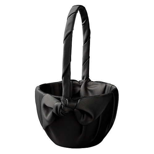 Black Satin Flower Girl Basket with Bow