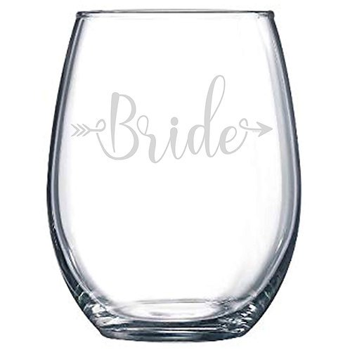"""Bride"" or ""Bride Squad"" Stemless Wine Glass"