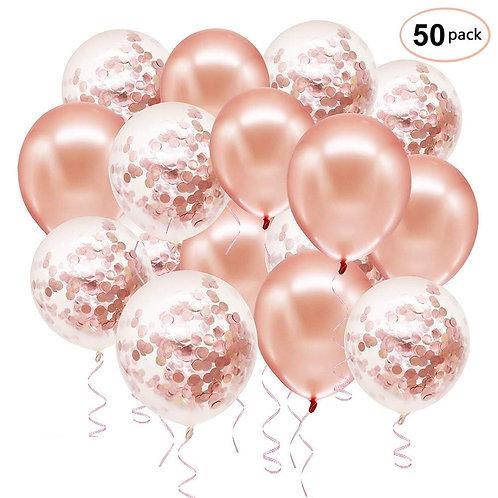 Rose Gold or Silver Confetti Balloon Decoration Set - 50pce