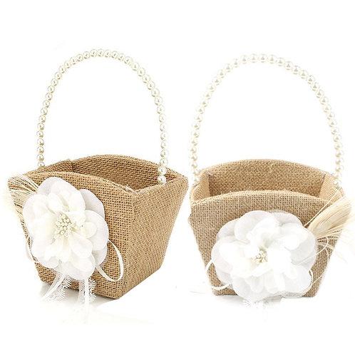 2 piece Burlap Flower Girl Basket with Pearl Handle