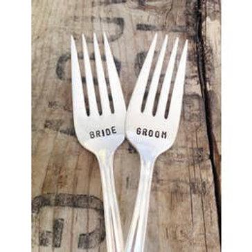 BRIDE, GROOM stamped Pair of Forks
