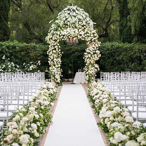 Floral Print Aisle Runner in White