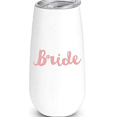 """""""Bride"""", """"Bride Tribe"""", or """"Cheers"""" Insulated Champagne Flute"""