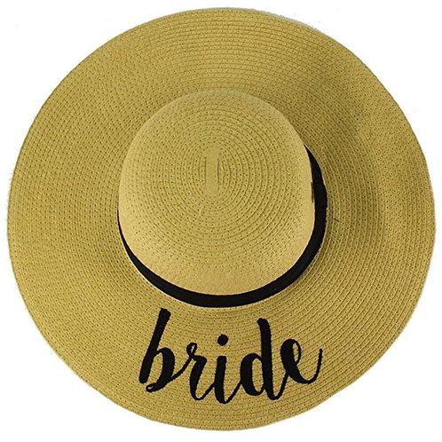 """Bride"" or ""Bride Tribe"" Wide Brim Natural & Black Floppy Hat"
