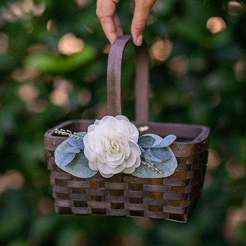 Wooden Woven Basket with Floral Accent