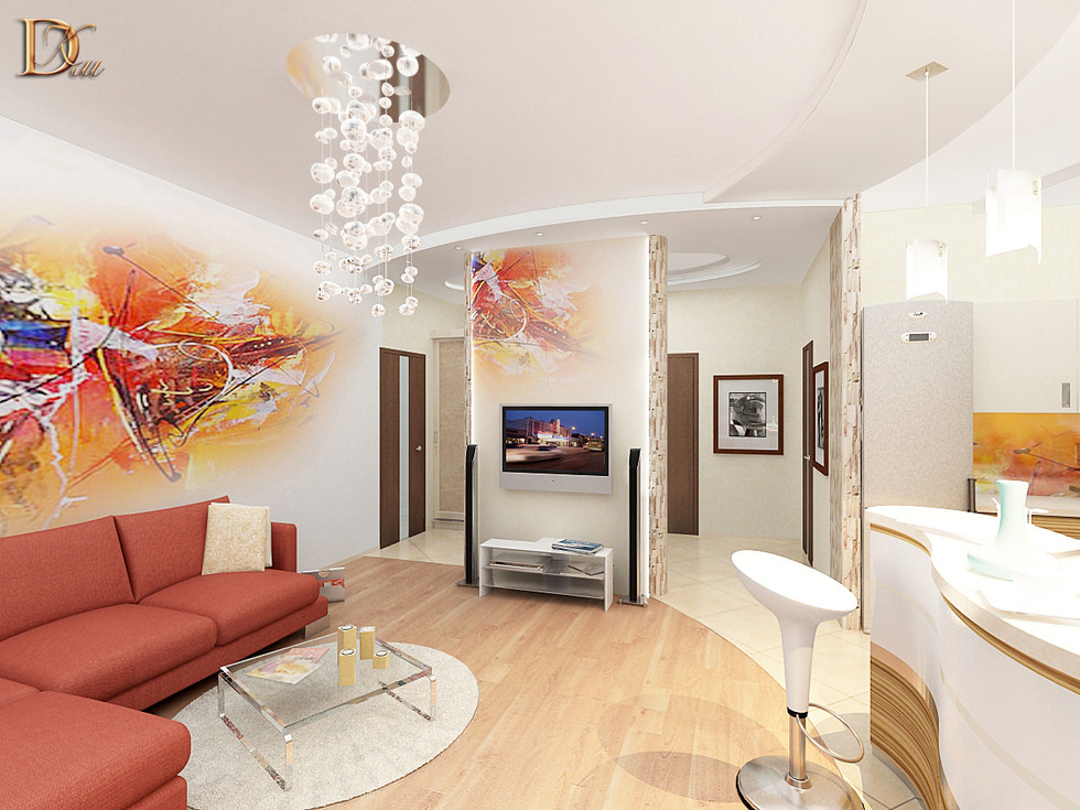 Вид на ТВ зону_вариант с росписью за телевизором_матовый потолок.jpg