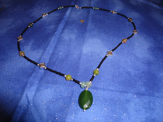 Green Long Necklace/ N123