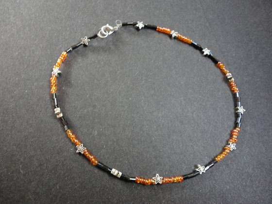 Orange & Black Anklet