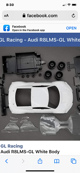 Gl racing Audi Lms R8 white unpainted body for gl type 1/28 or mini z