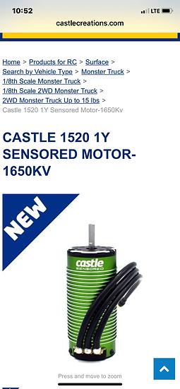Castle 1520 1650kv motor