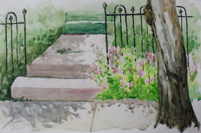 Steps To The Victorian House Watercolor Painting