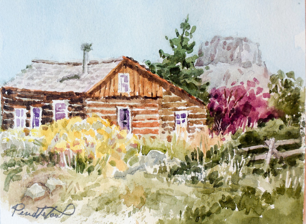 Watercolor Cabin