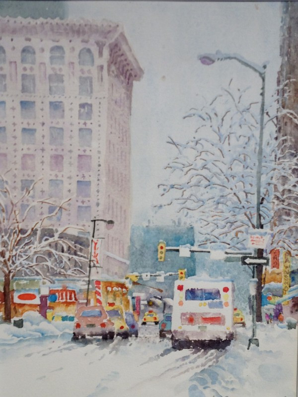Snow on 15th St. Denver Watercolor Painting