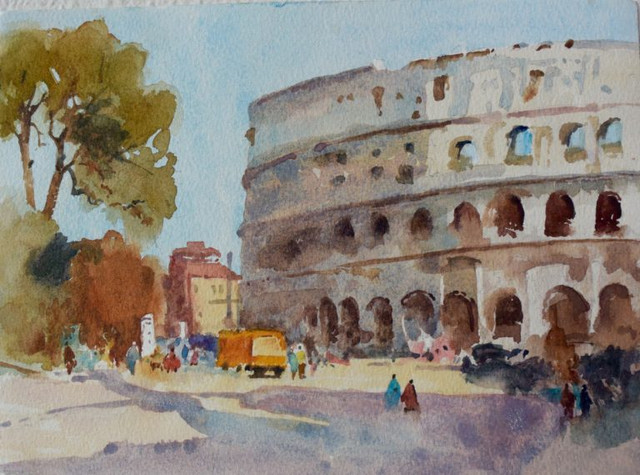The Coliseum In Rome Watercolor Painting