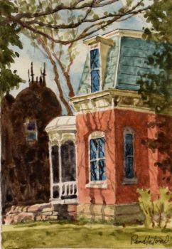 Victorian House Watercolor Painting