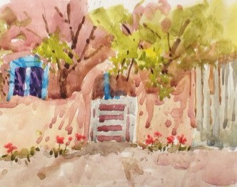 Spring In Taos Watercolor Painting