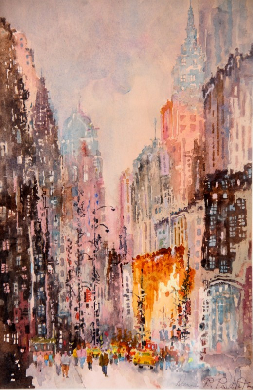 """City Rhythm""  Watercolor, 22×30″, Private Collection"