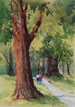 Washington Park, Denver Watercolor Painting