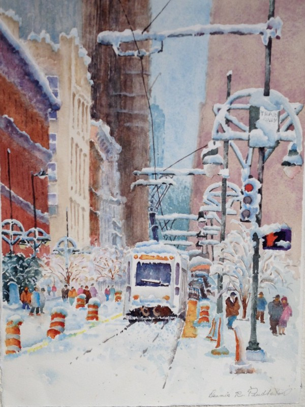Winter In Downtown Denver Watercolor Painting by Dennis Pendleton