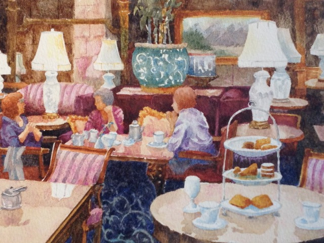 High Tea On Sunday Afternoon Watercolor Painting