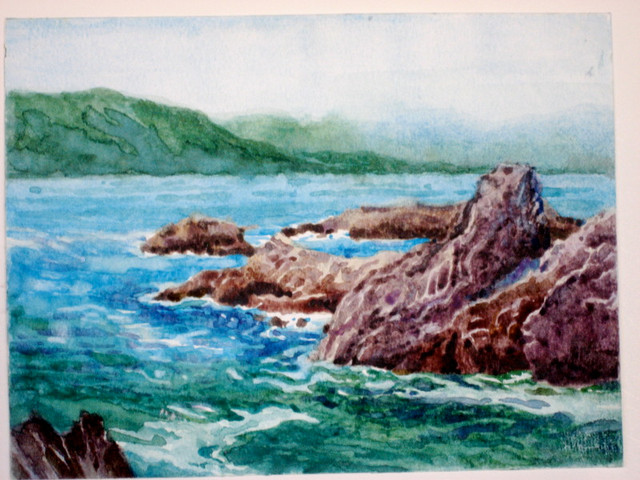 On The Beach In Mexico Watercolor Painting