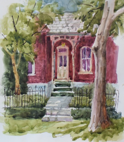 Old Brick Victorian Watercolor Painting