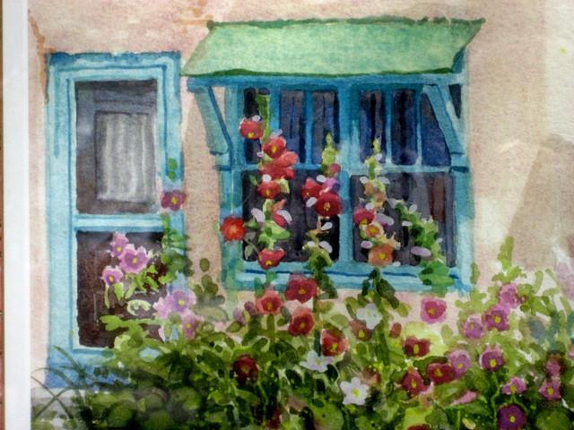 Hollyhocks At The Window