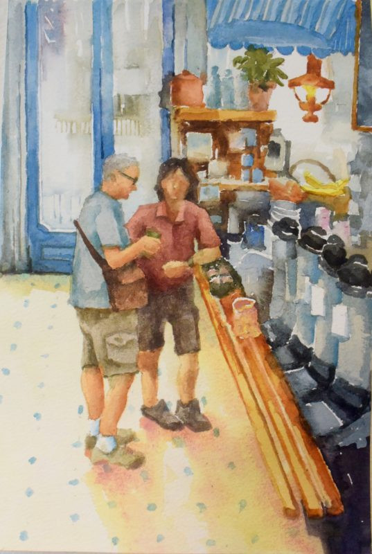 The Market Larimar Square Watercolor Painting