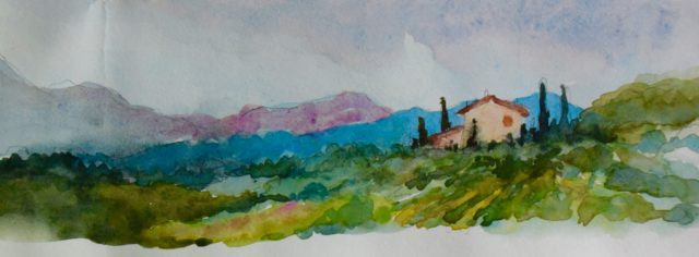 Tuscany Hill Country Watercolor Painting