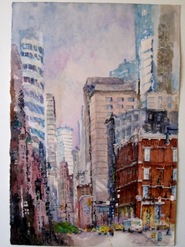 Downtown Denver Watercolor Painting